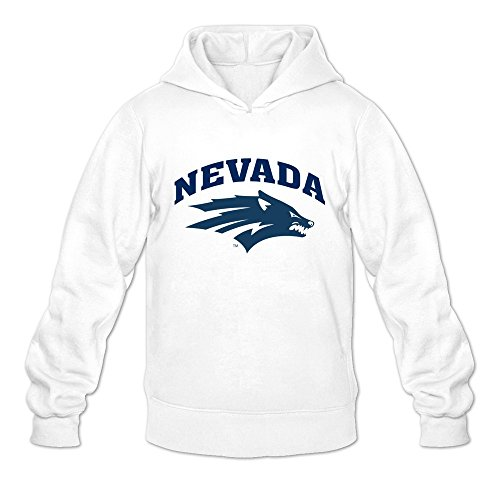 Price comparison product image Nevada Wolf Pack Logo Nerdy 100% Cotton White Long Sleeve Sweatshirt For Mens Size M