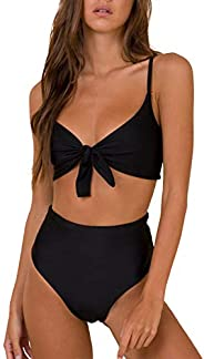 Blooming Jelly Women's High Waisted Bikini Swimsuit Tie Knot Two Piece Bathing S