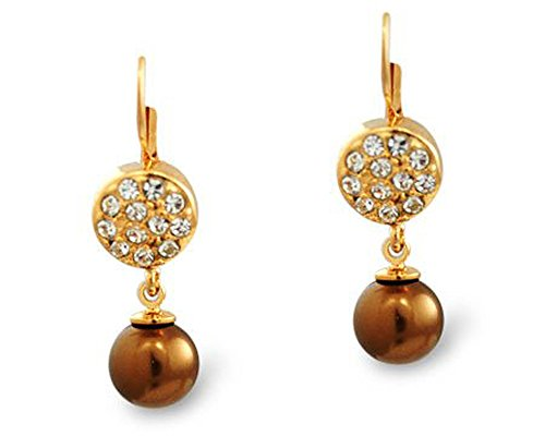 Formal Bronze Faux Pearl and Gold Earring - Bridesmaid Jewelry (Brown) (Pearl Earrings Bronze)