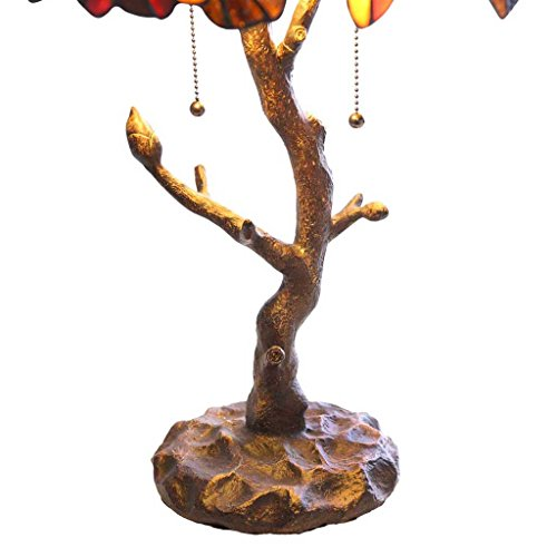 Tiffany Style Stained Glass Table Lamp: 24.5 Inch Victorian Style Colorful Maple Leaf Accent Lamp with Vintage Bronze Tree Trunk Base - High-End, Decorative Table Lamps for Small Elegant Home Decor