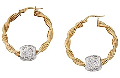 9ct Gold Twisted Hoop & Silver Glitter Ball Creole Earrings.