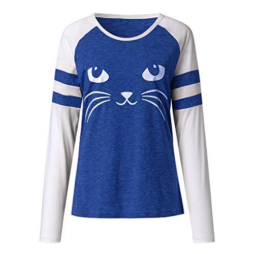 Chemisier Blouse shirt Chemise Tunique Femme Col Longues Cutude T Bleu Chat  Manches Rond BqHYBdw b85babfd036