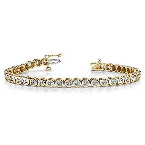 Vente.. F/VS 2,00carats Diamant rond de bracelet de tennis en or jaune 18K