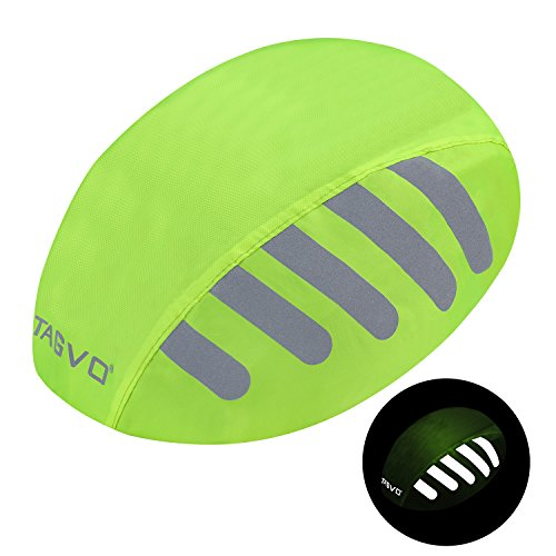 TAGVO Bike Helmet Cover with Reflective Stripe, High Visibility Waterproof Cycling Bicycle Helmet Rain Cover - Bright Color, Universal Size