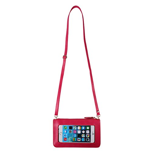 Bag Wallet Handbag Clutch Crossbody Universal Touch Screen Zipper Magenta wIqHnFB