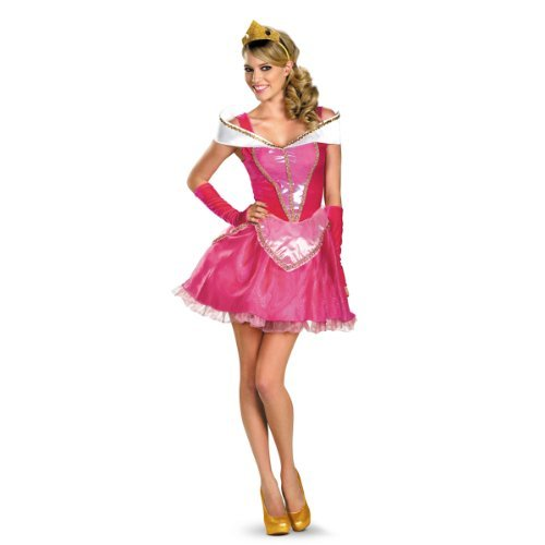 Disguise Disney Deluxe Sassy Aurora Costume, Pink/White, Medium/8-10