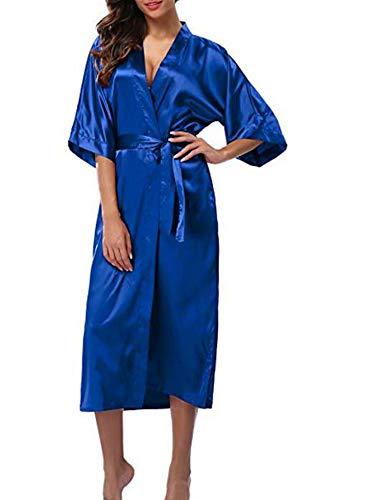 Women Silk Satin Long Robe Feminino Bath Robe Large Size XXXL Peignoir Femme Sexy Bathrobe,Royal Blue,XXXL ()