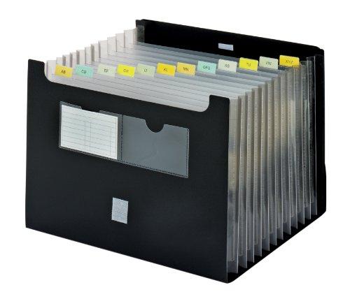 Globe-Weis/Pendaflex Poly Expanding Desktop File, 13 Pockets, Letter Size, Black -