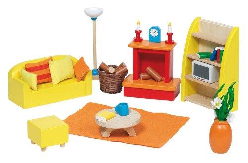 Goki 51904 Puppenhausmöbel für das Wohnzimmer, 24-teilig
