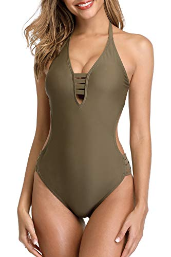 (Sociala Olive Green One Piece Swimsuits for Women Halter Monokini Bathing Suit M)