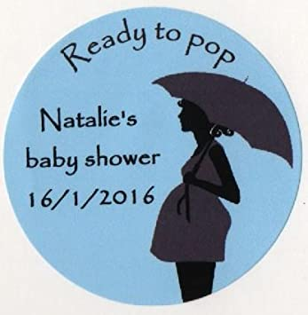 Ready to pop baby shower stickers personalised a4 sheet of 15 x