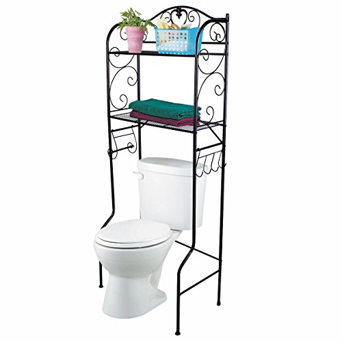Product review for vdomus bathroom space saver over the toilet wire shelf shelves black for Black over the toilet bathroom space saver