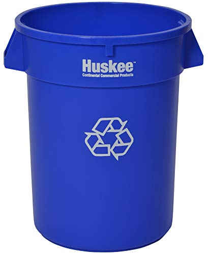 (Continental 3200-1 32-Gallon Huskee LLDPE Recycling Container, Round, Blue)