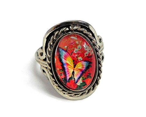 Small Vintage Butterfly Oval Ring (Butterfly Floral Ring)