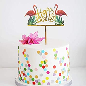 Flamingo Happy Birthday Cake Toppers Gold Picks Palm Leaf Tropical Hawaiian Luau Themed Party Decorations