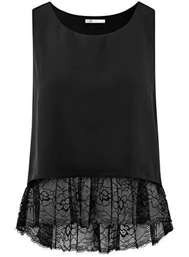 Ultra en Femme Top Noir 2900n Ourlet oodji Dentelle SfdqTqwH