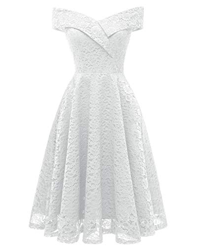 Chowsir Women Off Shoulder V-Neck Lace Cocktail Party Midi Dress (XX-Large, White)