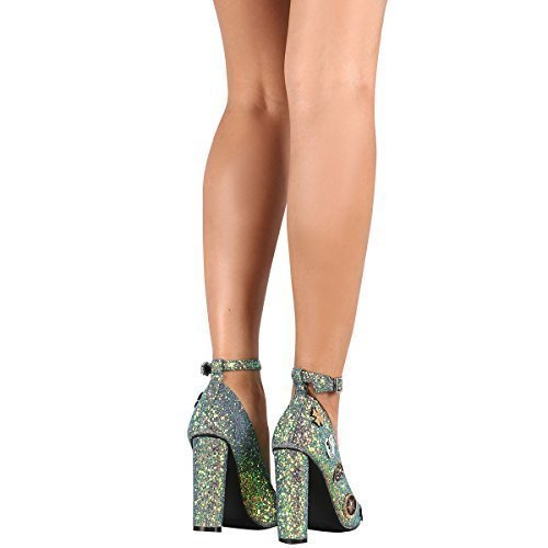 Cape Robbin Ella-25 Mermaid Glitter Ankle Strap Pointy Toe Chunky Heeled Pump (8.5) - Glitter Cape