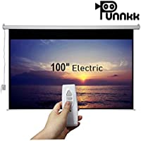 Punnkk E7 Motorized Projector Screen Size -7Ft(Width) X 5Ft(Height), 100 Inches 4:03, with Remote Control, Electric Projection Screen, Active 3D/4K Ultra HD Home Theater
