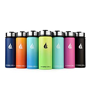 HYDRO CELL Stainless Steel Water Bottle w/Straw & Wide Mouth Lids (40oz 32oz 24oz 18oz) – Keeps Liquids Hot or Cold with Double Wall Vacuum Insulated Sweat Proof Sport Design