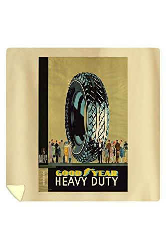 Goodyear - Heavy Duty Vintage Poster (artist: Anonymous) Spain c. 1922 (88x88 Queen Microfiber Duvet Cover) by Lantern Press