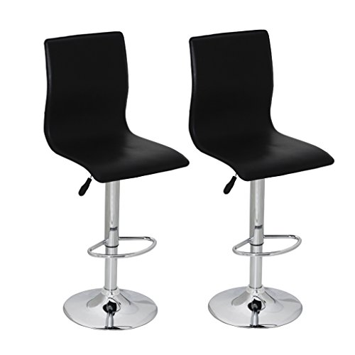 Black Pvc Swivel Seat Stools (SKB Family Set of 2 Black PVC Bar Stool with High Backrest Modern Pair Seat)