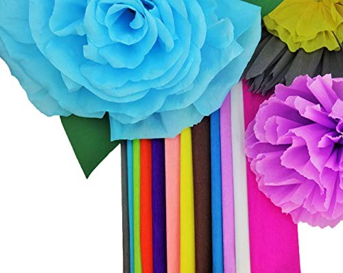 Crepe Paper 12 Different Colors Flower Making Art Projects Crepe Paper]()