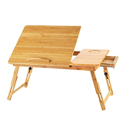 Bamboo Laptop Computer Desk Serving Bed Tray Breakfast Table Tilting Top with Drawer Adjustable Portable Reading Writing Desk Tablet Holder Standing Desk by LONTG