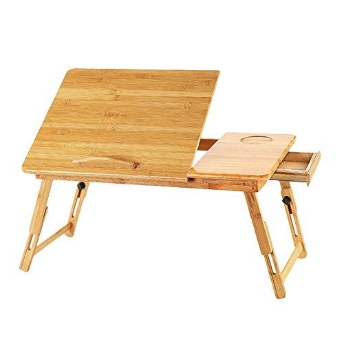 Escritorio para ordenador de bambu Natural, Lapdesk Tablet portatil plegable regulable en altura mesa de cama bandeja de lectura dibujo de comedor de electrodomestico Dortoir adulto edudiant