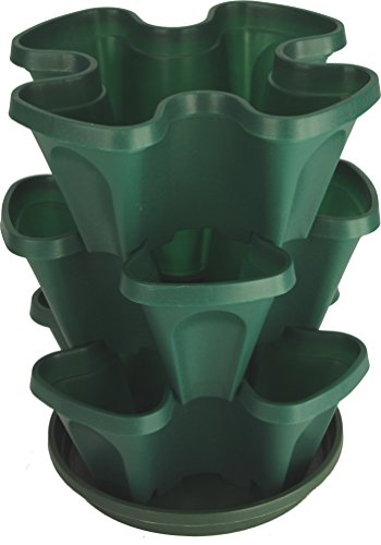 Cheap Mr. Stacky Self Watering 3 Tier Stackable Garden Vertical Plastic Planter Set,  Hunter Green