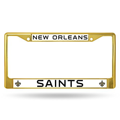 - Rico Industries NFL New Orleans Saints Team Colored Chrome License Plate Frame, Gold