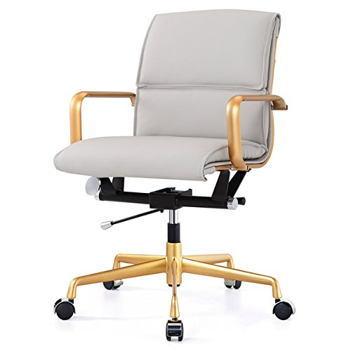 M330 Office Chair in Gold and Grey Vegan Faux Leather by Generic