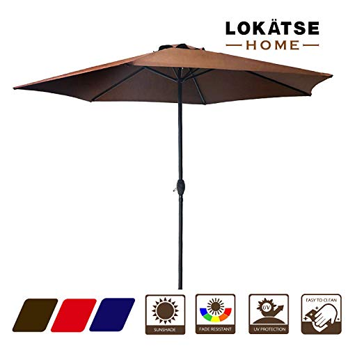 LOKATSE HOME 9′ Market Outdoor Patio Table Umbrella with 6 Sturdy Ribs and Crank, Brown