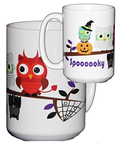 Halloween Coffee Mug Hostess Gift Adorable Cartoon Owls on a Tree Branch