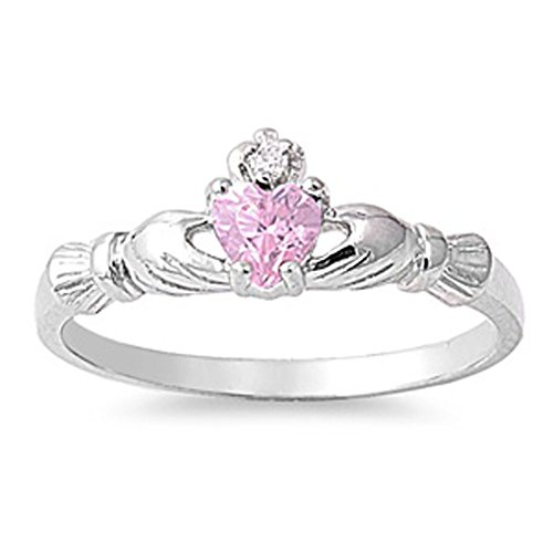 Sterling Silver Claddagh Ring Pink Ice Traditional Irish Knot Band Size 5