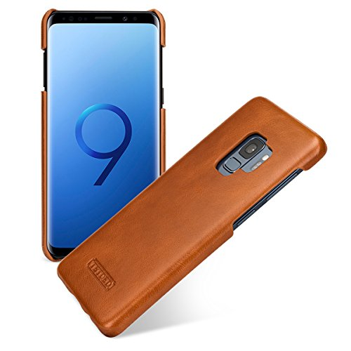 Price comparison product image TETDED Premium Leather Case for Samsung Galaxy S9 GM-G960 G960D G960F G960F / DS G960N G960U G960W SGH-N327 G9600 G9608 Dual SIM,  Snap Cover (Vintage: Brown)
