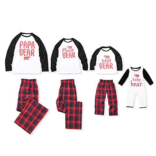 PatPat Matching Family Christmas Holiday Polar Bear PJ Pajamas Set with Plaid Pant from Yaffi