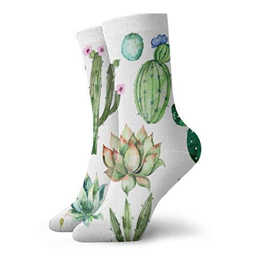 Novelty Cool Crazy Funny Dress Socks - Watercolor Elements Succulent Plants Cactus Socks - Gifts for Men & Women -