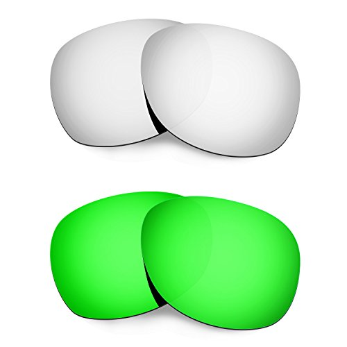 Hkuco Mens Replacement Lenses For Ray-Ban Wayfarer RB2132 55mm Sunglasses Titanium/Emerald Green