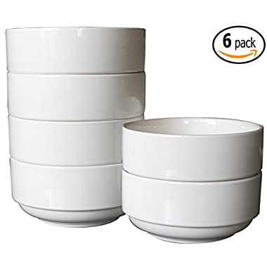 Ceramic Stackable Soup and Salad Bowls with Pan Scraper, 5.5 Inch 20 Ounce, White Ivory (6)