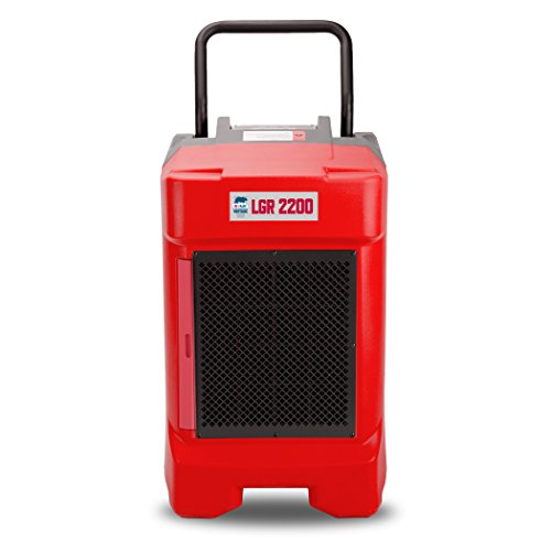 B-Air VG-2200 225 Pint Commercial LGR Dehumidifier for Water Damage Restoration Equipment Mold Remediation, Red