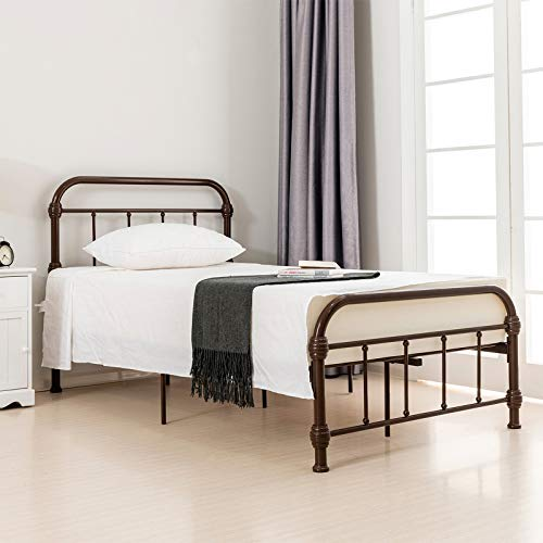 LAGRIMA Bed Twin Size Platform Metal Frame, with Vintage Headboard and Footboard, Antique Bronze Brown Baking Paint, Premium Steel Slat Support,Twin,Bronze