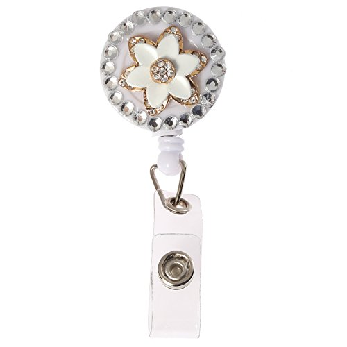 Luxury Retractable Bling Crystal Alloy Flower Badge Reel Clip Holder,Rhinestone Medical Nurse Badge ID, Badge Holder, ID Holder, Office Employee Name Badge Reel With 360 Degree Alligator Swivel Clip ()