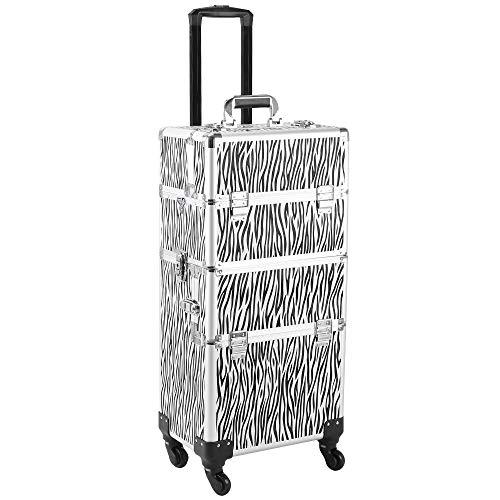 MAMOIU 3 in 1 Aluminum Cosmetic Makeup Case Tattoo Box (Zebra -