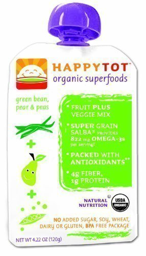 Happy Tot Organic Baby Foodステージ4グリーンBeans、Pears & Peas、4.22 Ounce Pouches (パックof 16 ) by Happy Tot   B014MXIXAY