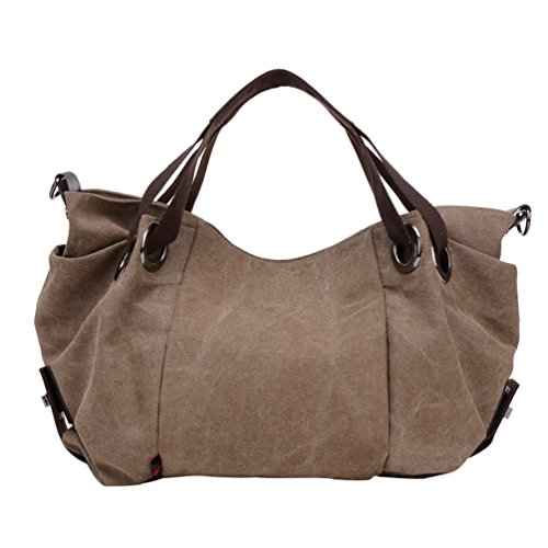 Bag Travel Handbags Hobo Brown Capacity Shoulder ZKOO Womens Shopper Large Canvas Bags Tote qEgYwB