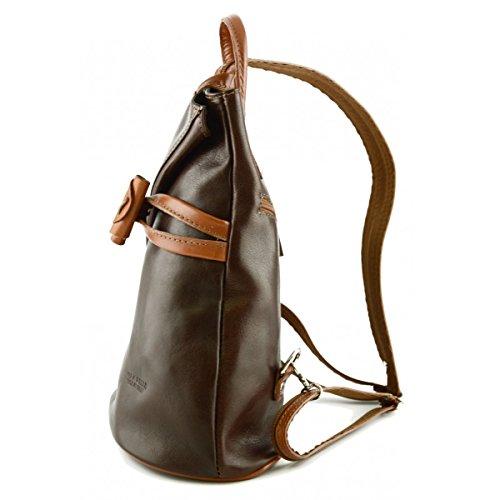 Damen Lederwaren Reißverschluss Braun Echtes Rucksack Leder Aniuk Mit Rucksack Italienische Träger Farbe Cognac Und HH4rq7