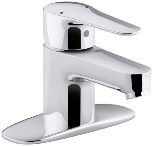 (KOHLER K-98146-4-CP July Single Handle Bathroom Sink Faucet with Escutcheon, Polished Chrome)