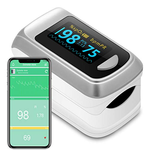 Bluetooth Fingertip Pulse Oximeter Oximetry Blood Oxygen Saturation Monitor and Pulse Rate Monitor for Apple and Android…