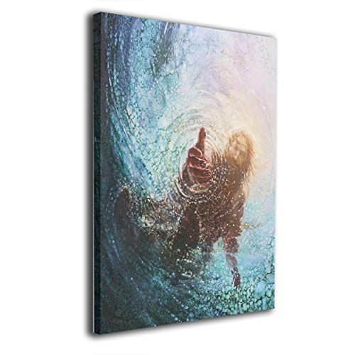 - JAWANNA Jesus Reaching Into Water Oil Canvas Paintings Artwork for Walls Decorative Paintings Classical Bedroom Decorations Ready to Hang (Inner Framed)